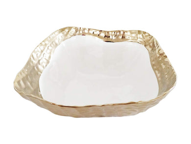 Royalty Porcelain Salad Bowl, Serving Dish White Plate with Gold Rim 10.5 Inch