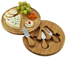 (D) Bamboo Cheese Board, Wooden Board with 3 Serving Utensils, Feta Board Set