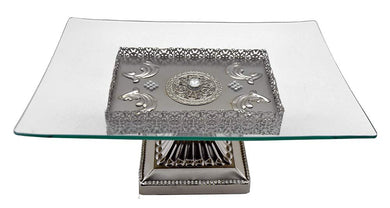 (D) Glass Serving Stand on Silver Base with Swarovski Crystal 12.5x8.5x5.5 Inch