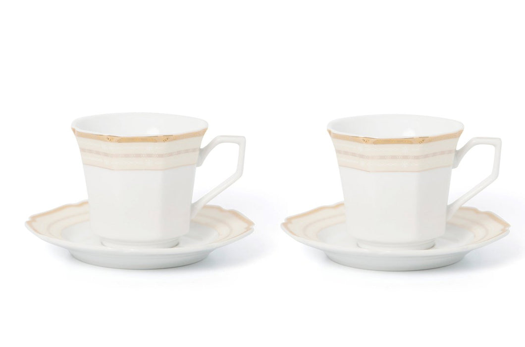 Royalty Porcelain 4pc Tea or Coffee Cup Set for 2, 24K Gold, Bone China (G322-4)