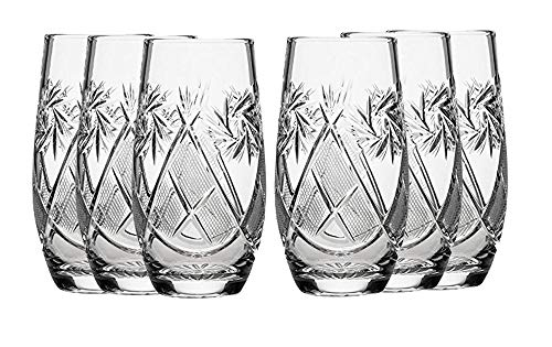 SET of 6 Russian CUT Crystal Drinking Glasses 300ml 10oz by Belarus