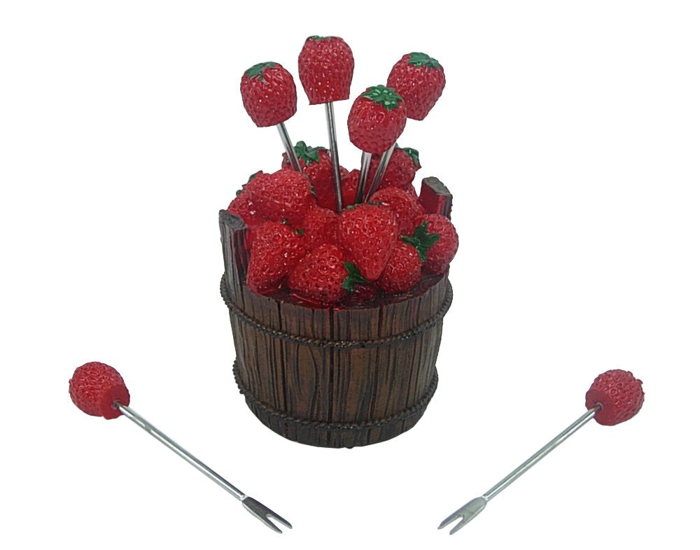 (D) 7-pc Cute Fruit Picks Set Strawberry for Home Party Decoration and Tableware