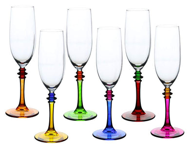 (D) Crystal Multi-color Flute Champagne Glass 6-pc Set, Modern Style Glassware