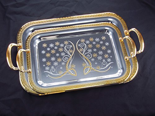 Denizli Serveware JS Silver Art Collection Double Stainless Steel Tray S930-1149
