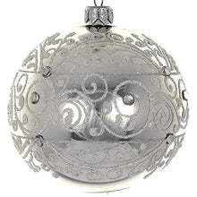 (D) Shiny Silver Swirl 4pc Round Holiday Ornament Set, Christmas Tree Decoration