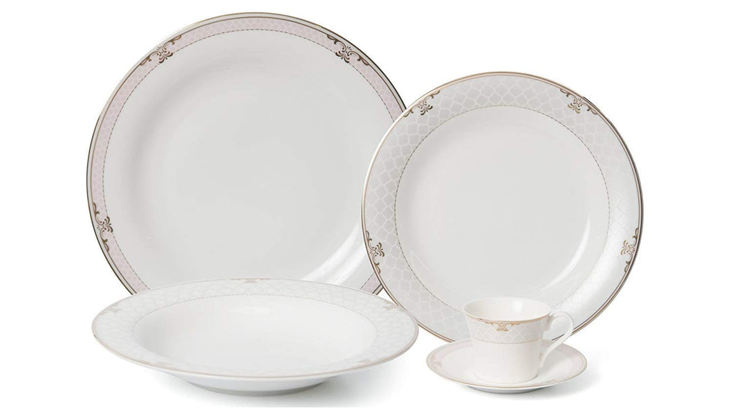 Royalty Porcelain 5-pc Dinner Set for 1,  Gold, Premium Bone China (White Snood)