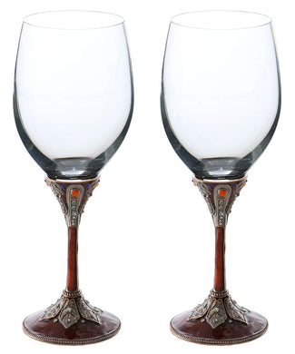 (D) Pair of Wine Stem Glasses with Swarovski Crystals, Modern Style Glassware