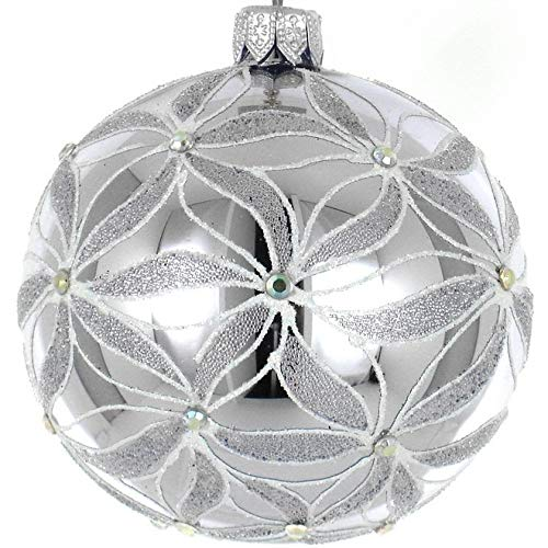 (D) Silver White 4-pc Round Holiday Ornament Set, Handmade & Mouthblown Glass