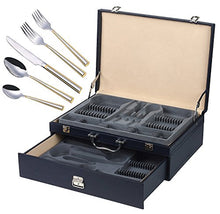 Italian Collection 'Clara Gold' 72pc Flatware Set with  Case, Service for 12