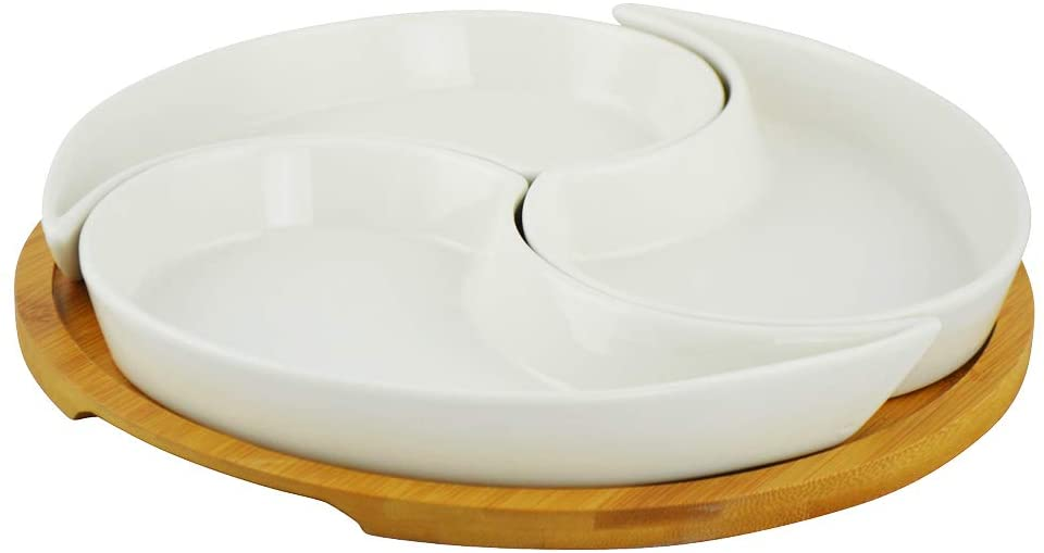 (D) Round Serving Platter, Bowls for Snack with Holder, Platters and Trays Large