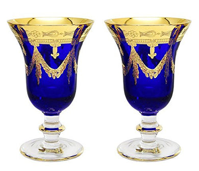 Interglass Italy Set of 2 Crystal Glasses, 24K Gold-Plated (Wine Goblets, Blue)