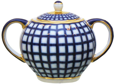 (D) Royalty Porcelain Lomonosov Cobalt Blue Sugar Bowl 'Check'