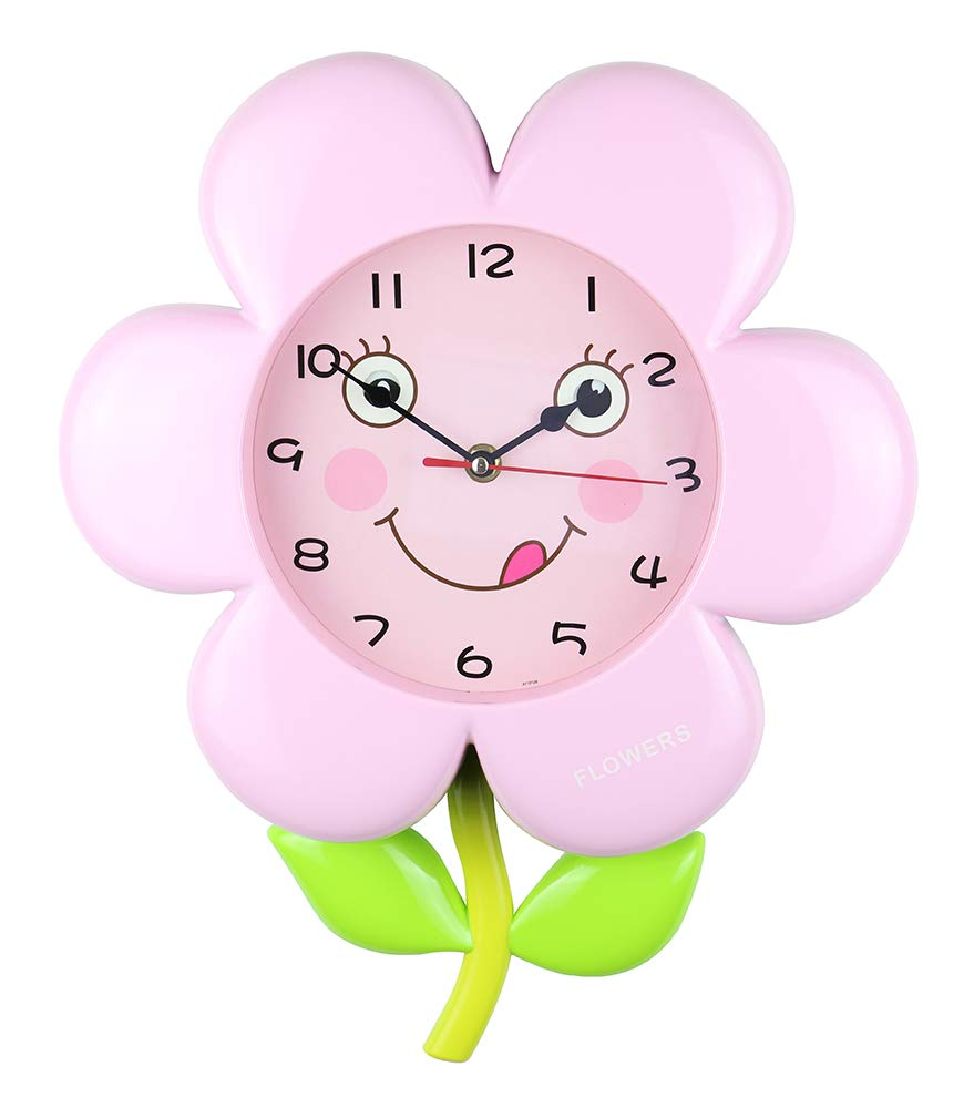 (D) Flower 15x12 Wall Clock for Kids Room (Pink)