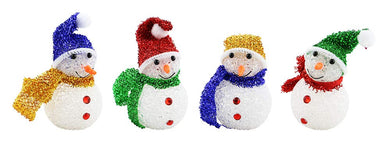 (D) Ornament 4pc, Handcrafted Christmas Tree Decoration Assorted Snowmen 6 Inch