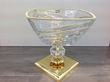 Italian Collection Crystal Bowl on Gold Stand, Decorated with Swarovski Crystal