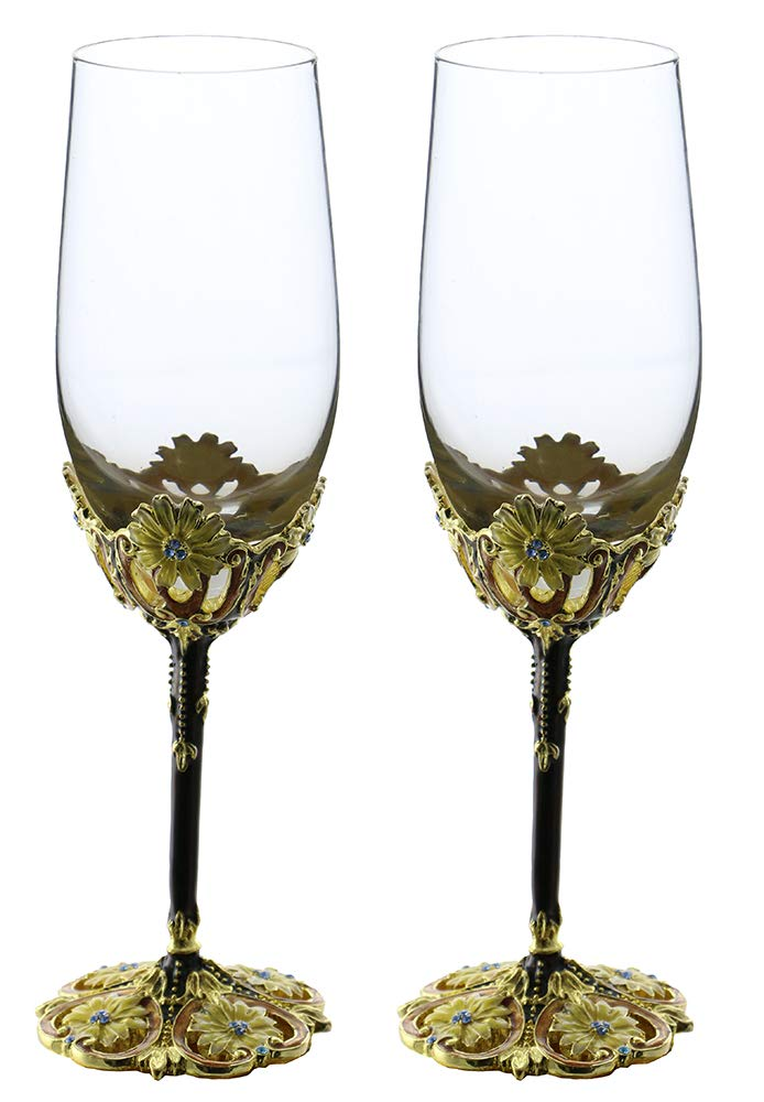 (D) Pair of Wine Flute Glasses with Floral Decor, Modern Style Glassware