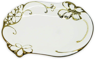 Royalty Porcelain Round Salad Bowl or Pasta, White Plate with Gold Butterfly (B)