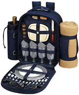 GIFTS PLAZA (D) Four Person Picnic Backpack Bag, Full Equipment Set with Blanket (Blue Navy)