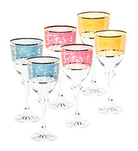 Italian Collection Crystal 12 Oz 'Julia' Multi Colored Water Goblet Glasses