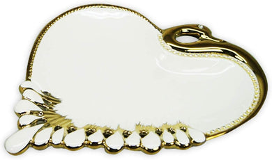 Royalty Porcelain Salad Bowl, Serving Dish White Plate Gold Rim 'Heart' (Medium)