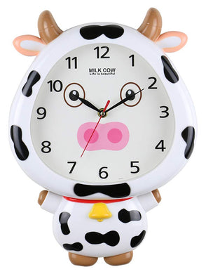 (D) 14x10 Milky Cow White Wall Clock for Kids' Room (White)