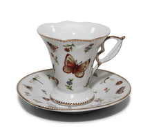 "Royalty Porcelain 12-pc ""White Butterfly"" Miniature Espresso Coffee Set"