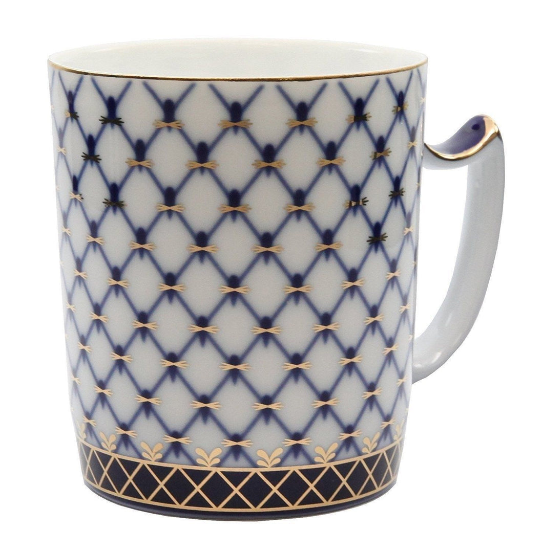Lomonosov Pattern HQ Tea Cup Mug 13 Oz, Russian Saint Petersburg Cobalt Blue Net