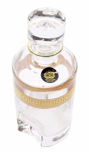 Handmade Whisky Crystal Decanter, 24K Gold Ornament Carafe