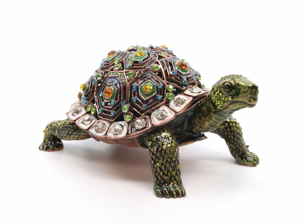 Faberge Box Green Turtle Enameled Figurine, 24K Box with Swarovski Crystal