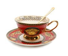 Royalty Porcelain Luxury 3pc RED Tea or Coffee Cup Set, Medusa Greek Key Pattern