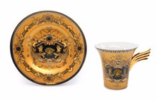 Royalty Porcelain 6-pc Gold Tea Set, Service for 2, Medusa Greek Key, 24K Gold