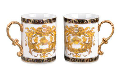 Royalty Porcelain 2-pc White Coffee or Tea Cup Mug, Medusa Greek Key, 13 oz