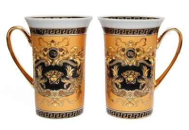 Royalty Porcelain 2-pc Yellow Coffee/Tea Cup Mug, Medusa Greek Key, 12 Oz