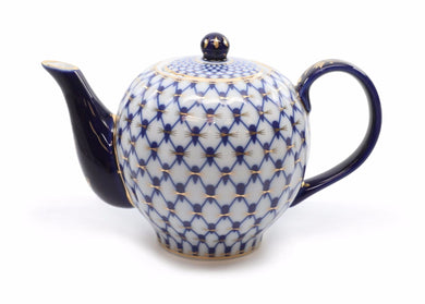 Royalty Porcelain Lomonosov Cobalt Blue Net Medium Teapot, Russian Pattern