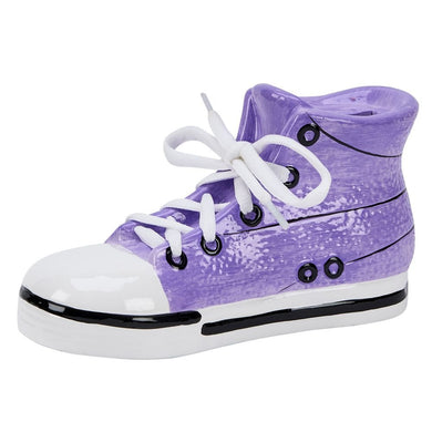(D) 17th Birthday Gift for Men, Coin Jar for Adults, Ceramic Purple Sneaker