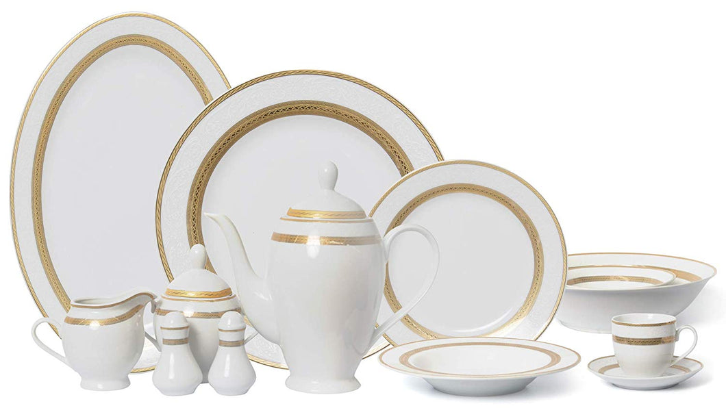 Royalty Porcelain Vintage Antique Gold 6-pc Place Setting 'Amelia', Premium Bone China