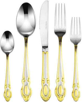 Royal Flatware 'Monarch' 45-Piece Premium Surgical Stainless Steel Silverware Flatware Set 18/10, Service for 8, 24K Gold-Plated