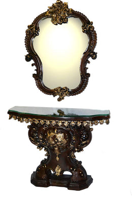 (D) Black and Gold Console Table with Hanging Mirror, Floral Decorated Cabinet