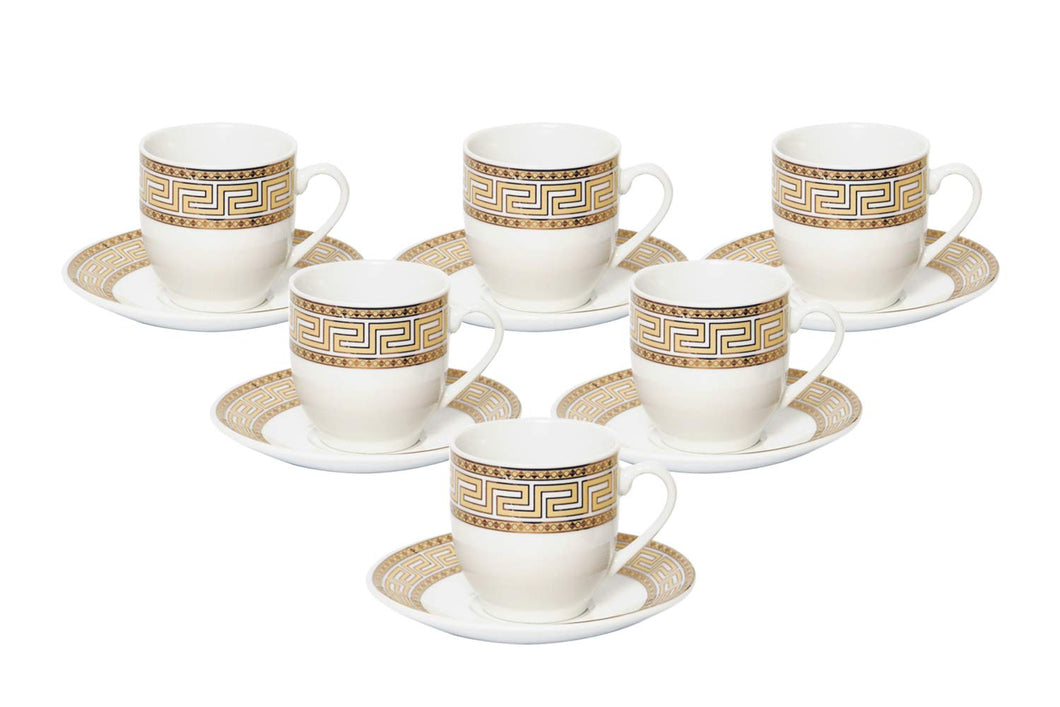 Royalty Porcelain 12pc Espresso Coffee Set Gold Greek Key, Bone China