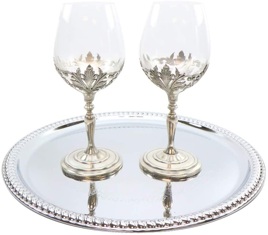 Medieval Portugal Pewter Goblet Wine Glasses 2 Pc Set Metal Gothic Pattern