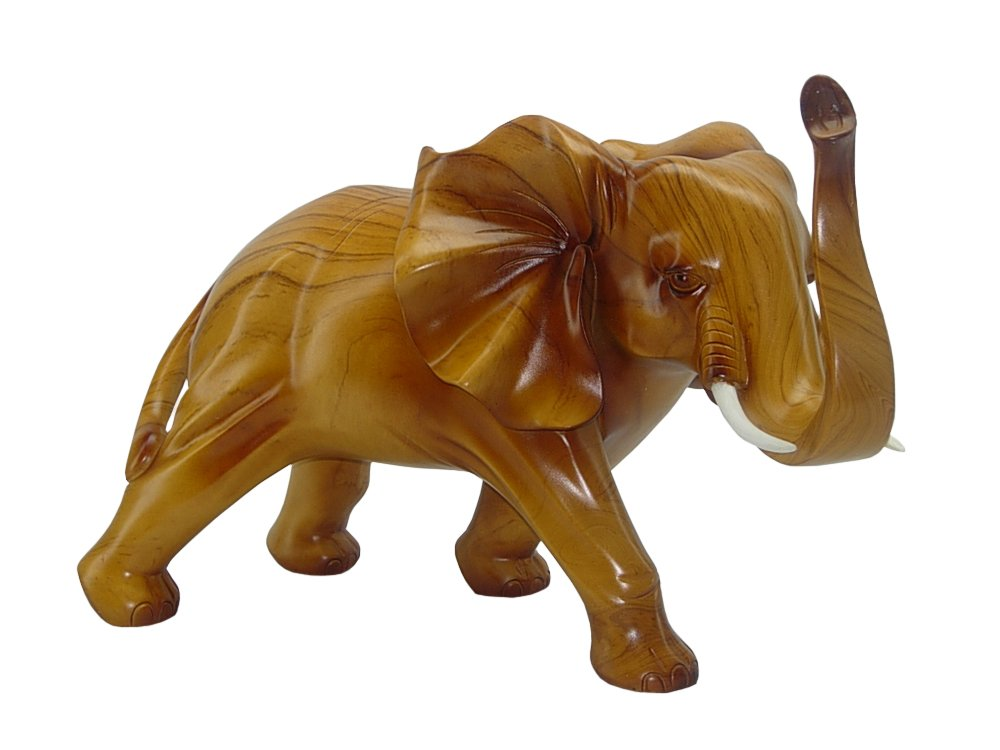 (D) Vintage Light Brown Elephant Collectible Figurine Wood Style 18x12 -inch