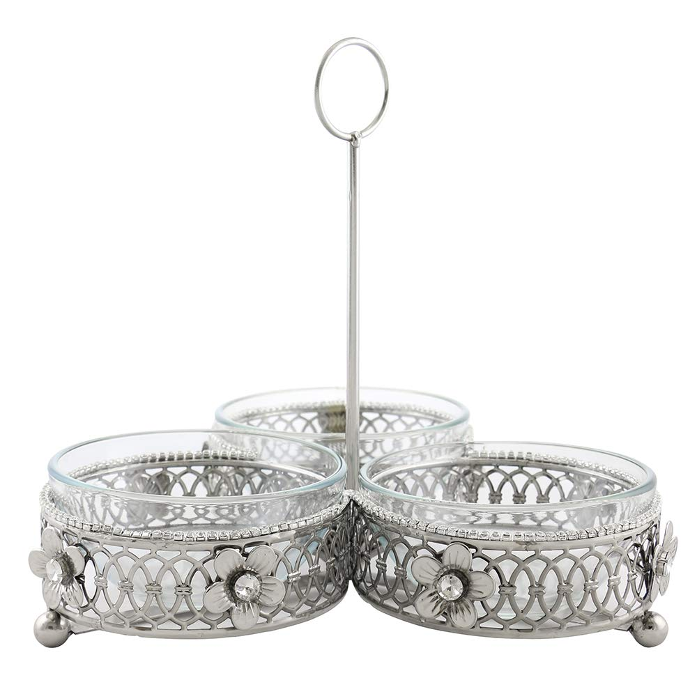 (D) Silver 3-Sectioned Holder for Dip Bowls 10 x 11 Inches