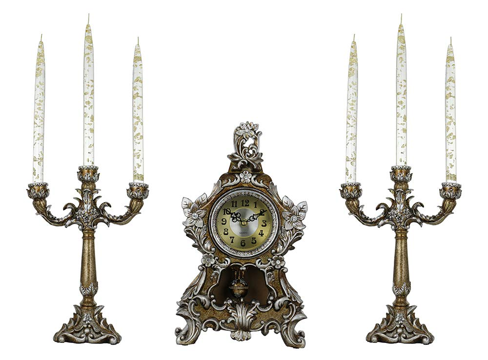 (D) Vintage Silver Table Clock 14x8 inches and Pair of Candle Holders