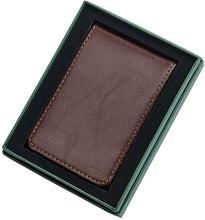 (D) Brown Leather Billfold Style Case with Money Clip, Card Holder for Men