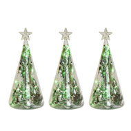 (D) Handmade Ornament, Christmas Decoration Star with Green String Lights 7 Inch 3 PC