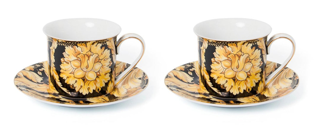 Royalty Porcelain Luxury Tea or Coffee Cup Set, 24K Gold (4 PC, Floral Black)