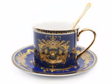 Royalty Porcelain 3-pc Blue Tea Set, Service for 1, Medusa Greek Key, 24K Gold