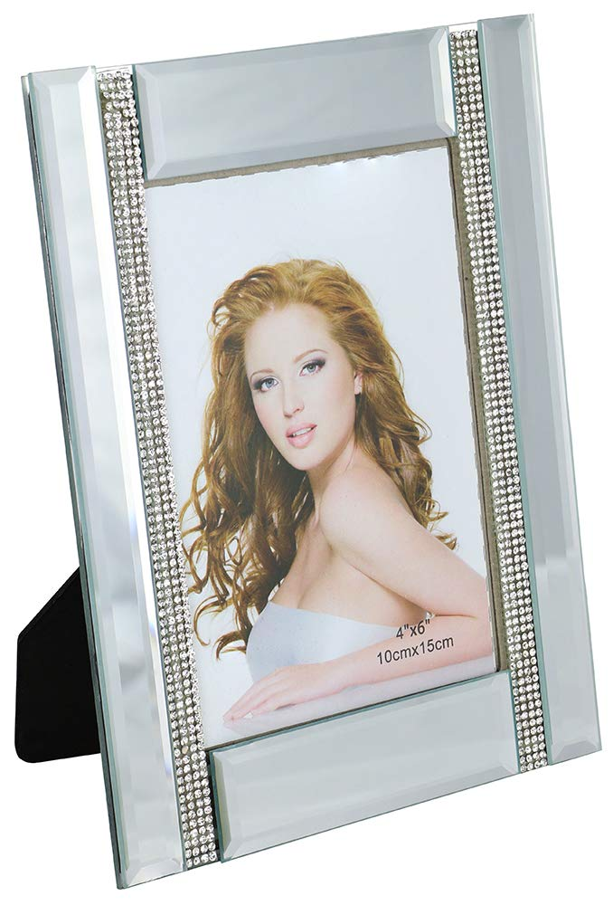 (D) Decorative Handmade Crystallized Photo Frame with 2 Crystal Lines