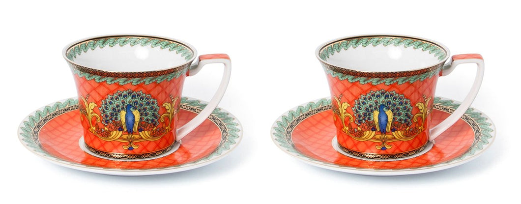 Royalty Porcelain Luxury Tea or Coffee Cup Set, 24K Gold (4 PC, Red Peacock)