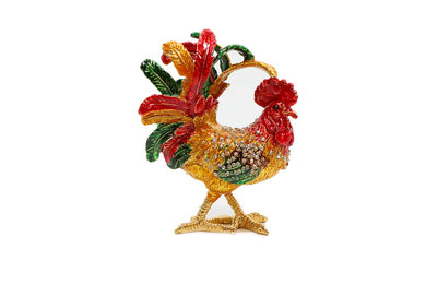 Faberge Jewelry Box with Swarovski, Decorative Figurines Rooster 3.5 Inch